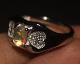 Ethiopian Welo Fire Opal Silver Ring Size US (6) 0114