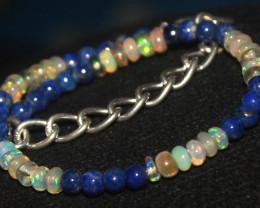 15 Crts Natural Opal & Lapis Lazuli Beads Bracelet 668