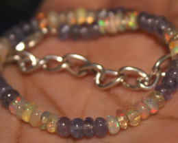 19 Crts Natural Opal & Tanzanite Beads Bracelet 665