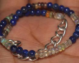 19 Crts Natural Opal & Lapis Lazuli Beads Bracelet 667