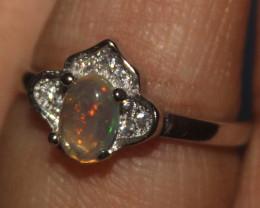 Ethiopian Welo Fire Opal Silver Ring Size US (5) 0120