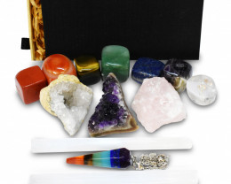 Crystals and Healing Stones Kit with 13 pcs. Gemstones and Crystals for Beg