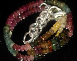 25 Crts Natural Multi Tourmaline Faceted Beads Bracelet