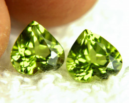 3.80 Tcw. Matched VS Peridot Hearts - Lovely