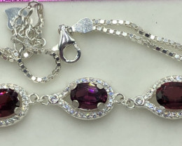 Natural Beautiful Rhodolite  925 Silver Bracelet With Cz