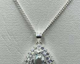 Natural Beautiful Aquamarine 925 Silver Necklace With Cz