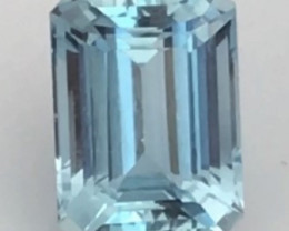 2.44ct Emerald Cut Pretty Blue Aquamarine = India H662