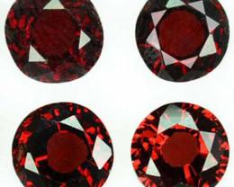 5.32 Cts Natural Deep Red Rhodolite Garnet Round 4 Pcs Africa