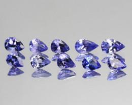 1.75 Cts Natural AAA Purple Tanzanite 4x3 mm Pear 10 Pcs Tanzania
