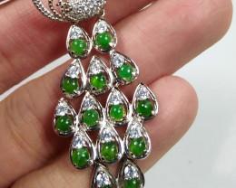 Natural Grade A Peacock Jadeite Jade Pendant&925 Silver Necklace