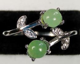Natural Grade A Jadeite Jade 925 Silver Ring