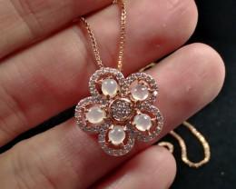 Natural Jadeite Jade Rose Gold Plated Pendant
