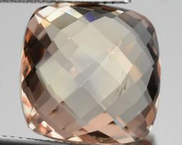15.45 Cts Natural Peach Morganite Cushion Checkerboard Cut Brazil