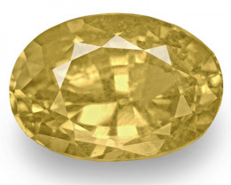 IGI Certified Madagascar Yellow Sapphire, 3.93 Carats, Brownish Yellow Oval