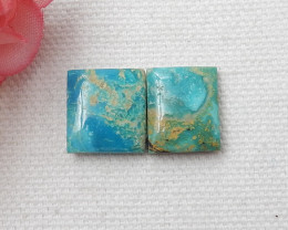 13.5cts  Turquoise Cabochon Pair ,Handmade Gemstone ,Turquoise Cabochons D7