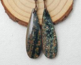 Beautiful Oval Ocean Jasper Earrings,Natural Jasper Summer Earrings D726