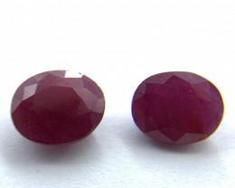 Rubies Lot of 2 gemstones 2.78 ct 2.90 ct Oval cut