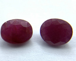 Rubies Lot of 2 gemstones 3.00 ct 3.24 ct Oval cut