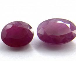 Rubies Lot of 2 gemstones 5.91 ct 7.87 ct Oval cut