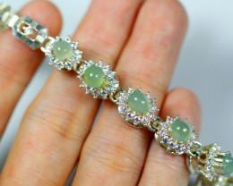 Natural Jadeite Jade Silver 925 Four-leaf clover Bracelet