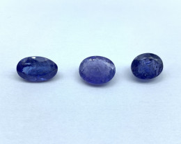 Lot of 3 Tanzanites 3.86 ct 3.80 ct 3.82 ct Oval cut