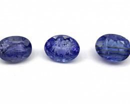 RESERVE PRICE : 80 $  Tanzanite Lot of 3 gemstones 3.40 ct 3.38 ct 3.38 ct
