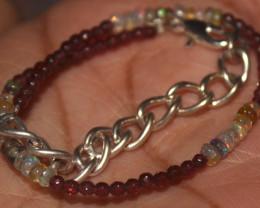 14 Crts Natural Welo Opal & Garnet Beads Bracelet 703
