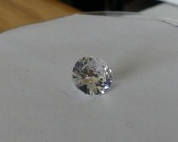 Zircon Gemstone Clear 10 mm dia 6 cts