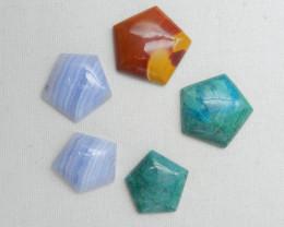 5pcs gemstone cabochons,chrysocolla,blue lace agate cabochons D740