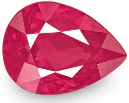 IGI Certified Burma Ruby, 1.53 Carats, Velvety Pinkish Red Pear