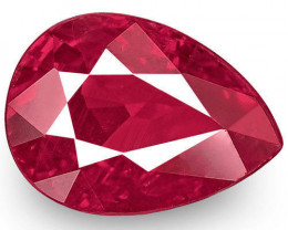 IGI Certified Burma Ruby, 1.04 Carats, Rich Intense Pinkish Red Pear