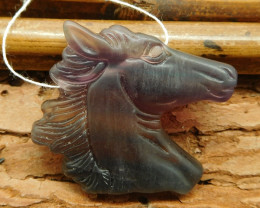 Natural fluorite carved horse pendant bead (G1023)