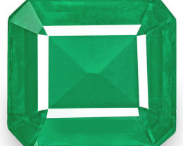 Zambia Emerald, 4.64 Carats, Velvety Intense Green Emerald Cut