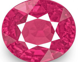 IGI Certified Mozambique Ruby, 1.25 Carats, Lively Pinkish Red Oval