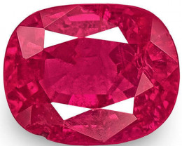 IGI Certified Mozambique Ruby, 0.85 Carats, Bright Pinkish Red Cushion