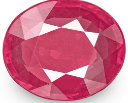 IGI Certified Mozambique Ruby, 1.24 Carats, Pink Red Oval