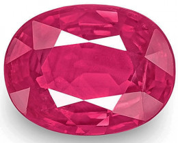 IGI Certified Mozambique Ruby, 1.48 Carats, Pinkish Red Oval