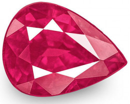 IGI Certified Mozambique Ruby, 1.10 Carats, Pinkish Red Pear