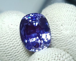 GIT CERTIFIED 5.03 CTS NATURAL STUNNING PURPLISH BLUE SAPPHIRE CEYLON