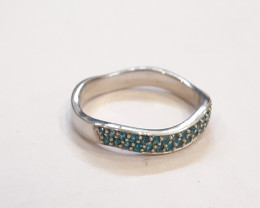 Neon Apatite 925 Sterling silver ring #9774a