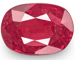 IGI Certified Burma Ruby, 1.24 Carats, Deep Red Oval