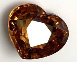 4.82ct Orange Bronze Zircon VVS Heart cut