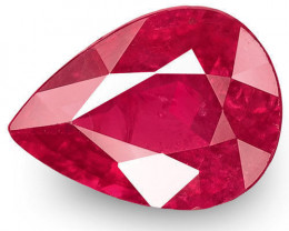 IGI Certified Burma Ruby, 1.31 Carats, Deep Pinkish Red Pear