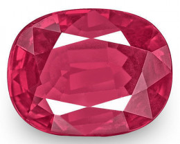 IGI Certified Burma Ruby, 0.87 Carats, Pinkish Red Cushion