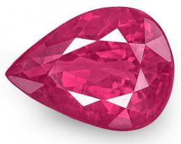 IGI Certified Burma Ruby, 1.00 Carats, Fiery Pinkish Red Pear