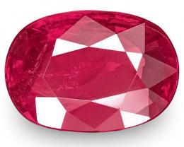IGI Certified Burma Ruby, 1.13 Carats, Deep Red Oval