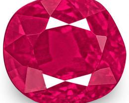 IGI Certified Burma Ruby, 0.94 Carats, Fiery Pinkish Red Cushion