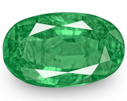 Zambia Emerald, 3.64 Carats, Lively Intense Green Oval