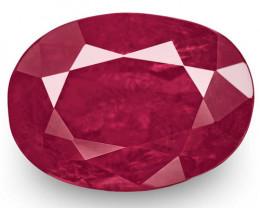 GRS Certified Tajikistan Ruby, 3.74 Carats, Rich Velvety Pinkish Red Oval
