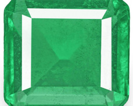 Zambia Emerald, 5.22 Carats, Intense Green Emerald Cut